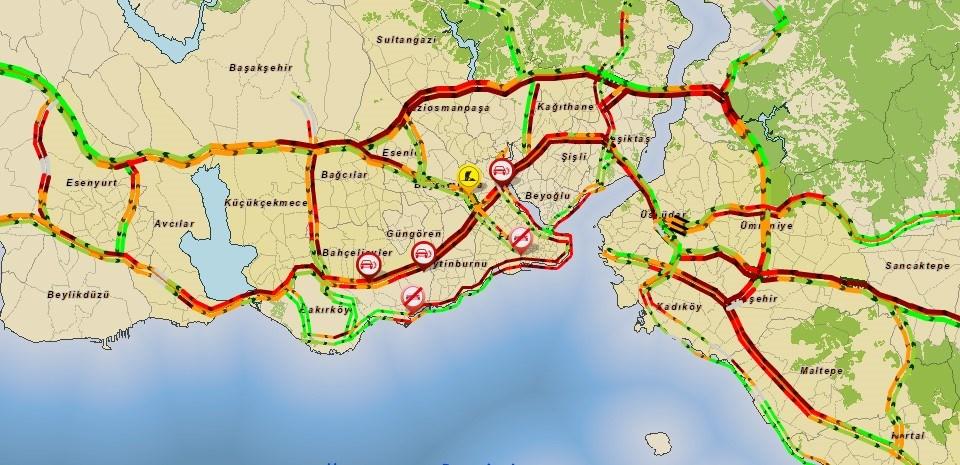 Saat 18.45 itibarıyla trafik yoğunluğu
