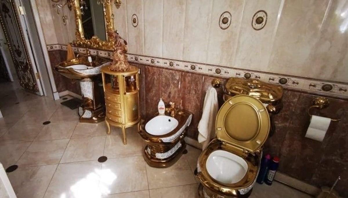 Trafik polisinin evinden altın kaplama tuvalet çıktı