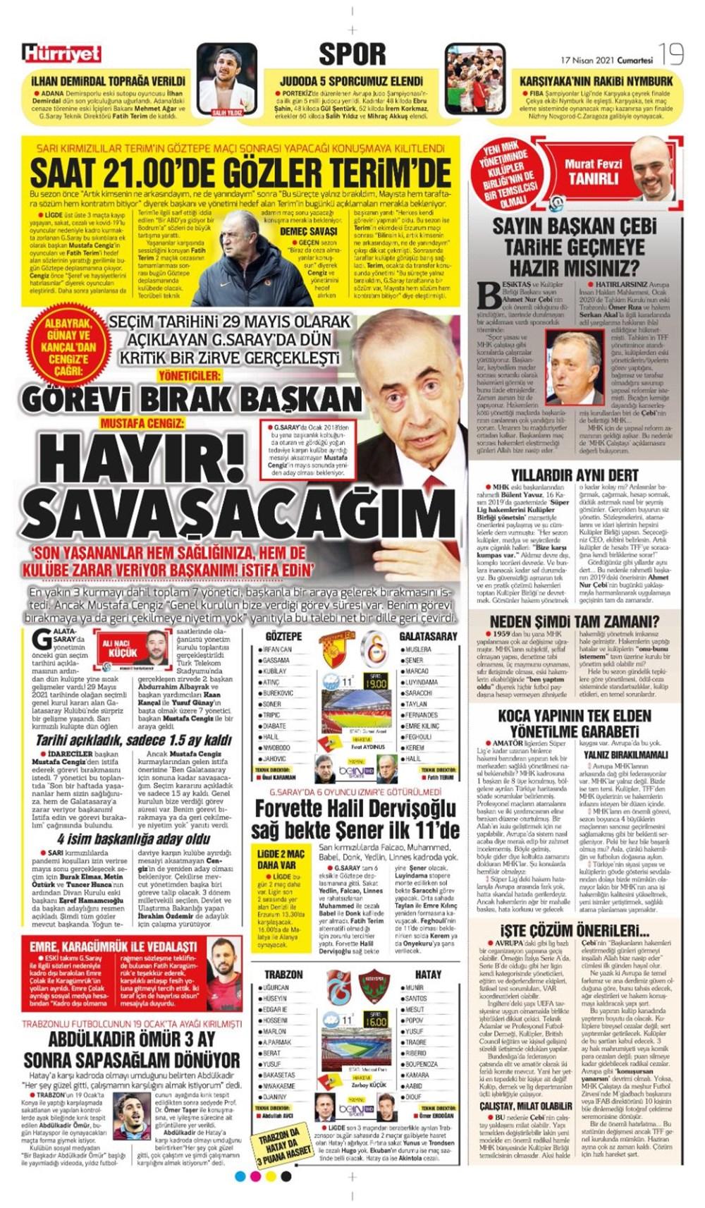 Günün spor manşetleri (17 Nisan 2021) - 11