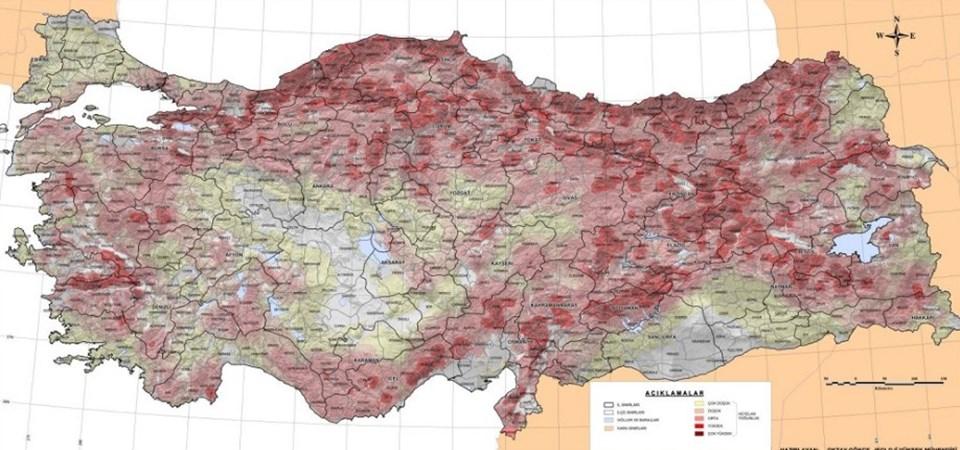 Türkiye Heyelan Yoğunluk Haritası