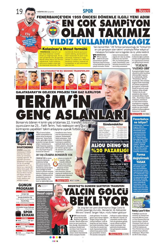 Günün spor manşetleri (4 Ağustos 2021) - 11