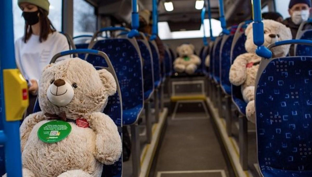 Finlandiya'da sosyal mesafeyi sağlamak için oyuncak ayılı toplu taşıma