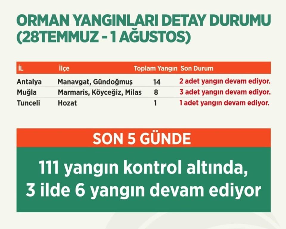 Türkiye genelindeki orman yangınlarında son durum.
