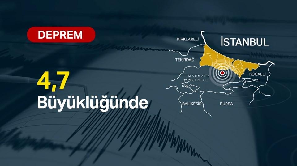 İstanbul'da 4,7 büyüklüğünde deprem meydana geldi