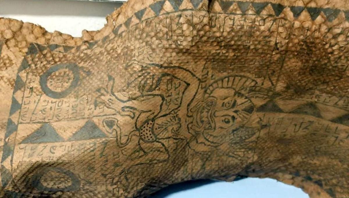 Gaziantep'te, üzerinde İbranice yazılar bulunan piton yılanı derisi ele geçti