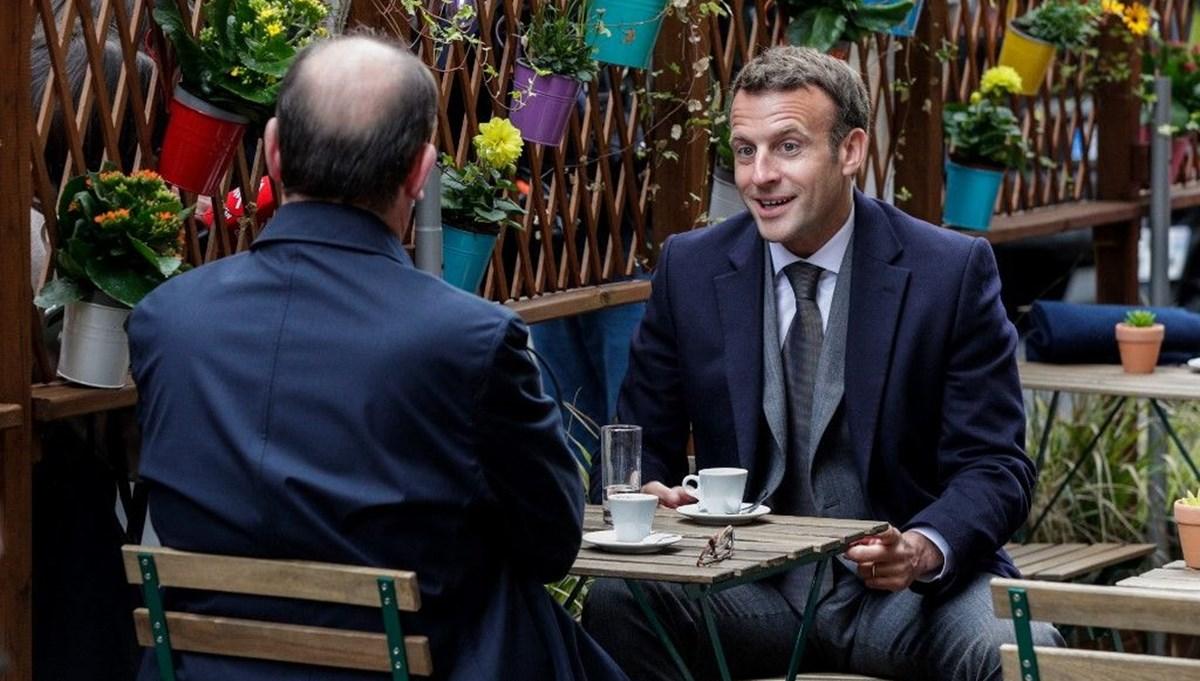 Fransa Cumhurbaşkanı Emmanuel Macron ile Başbakan Jean Castex kafede buluştu