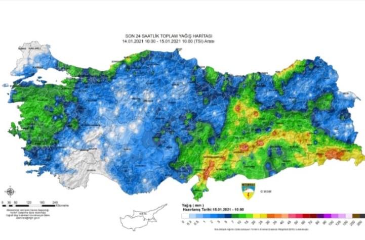 Meteoroloji Genel Müdürlüğünün verilerine göre; Türkiye'nin son 24 saatte aldığı yağış miktarı.
