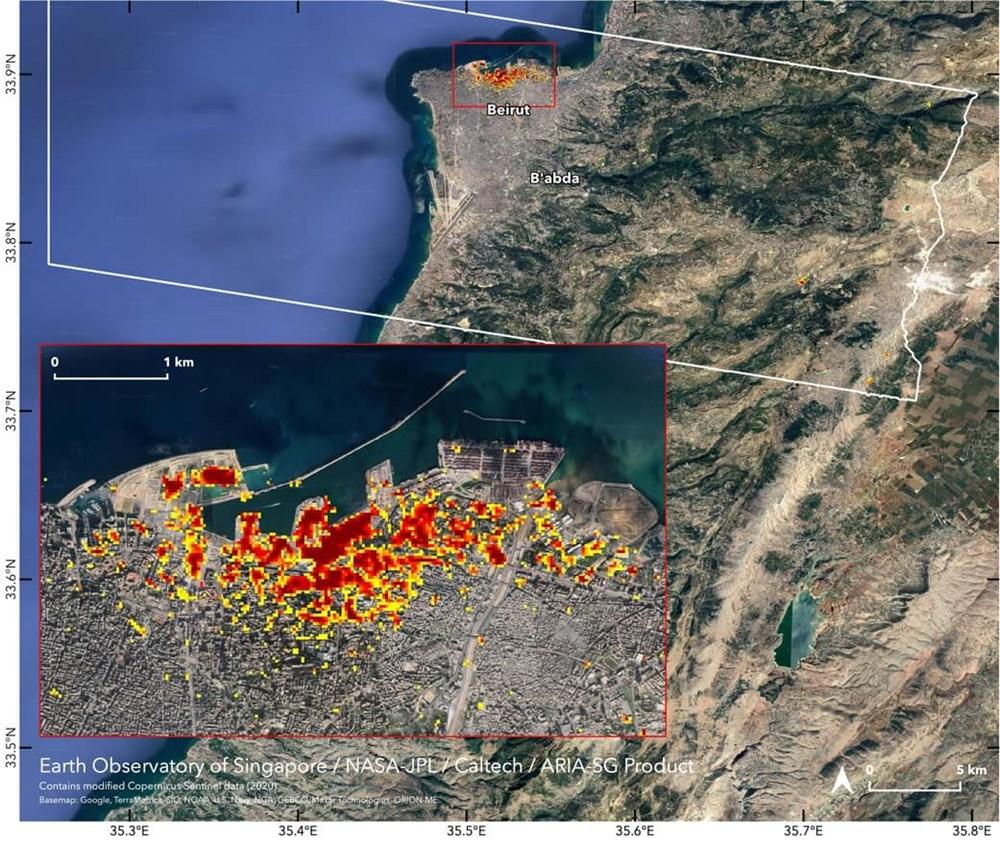 NASA Beyrut'taki patlamanın uydu görüntülerini yayınladı - 1