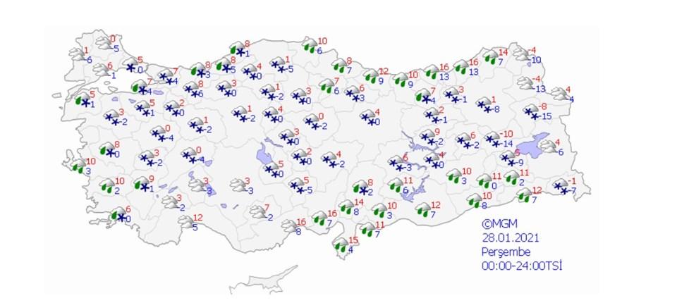 Meteoroloji Genel Müdürlüğünün resmi internet sitesinde yer alan tahmin haritası