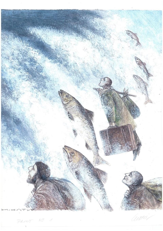 Mojmir Mihatov'un üçüncülük ödülü alan karikatürü