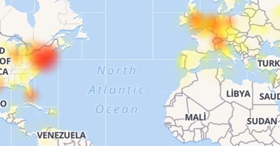 Downdetector verilerine göre, sorunun en çok yaşandığı bölgeler Batı Avrupa ve ABD'nin batı bölgeleri.