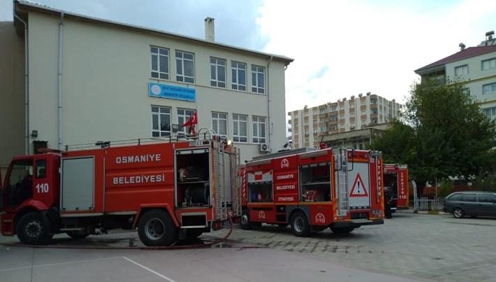 Okulun kazan dairesinde yangın