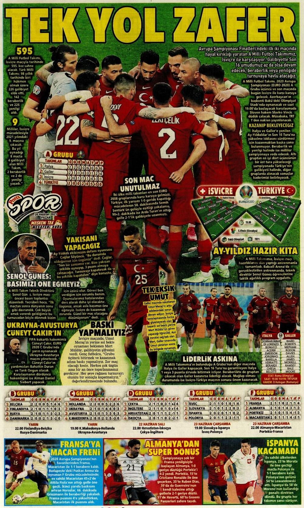 Günün spor manşetleri (20 Haziran 2021) - 14