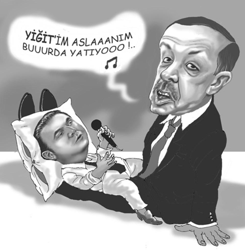 Cumhuriyet gazetesinden Musa Kart'ın, 'Çizmeden Yukarı' köşesindeki karikatürü.