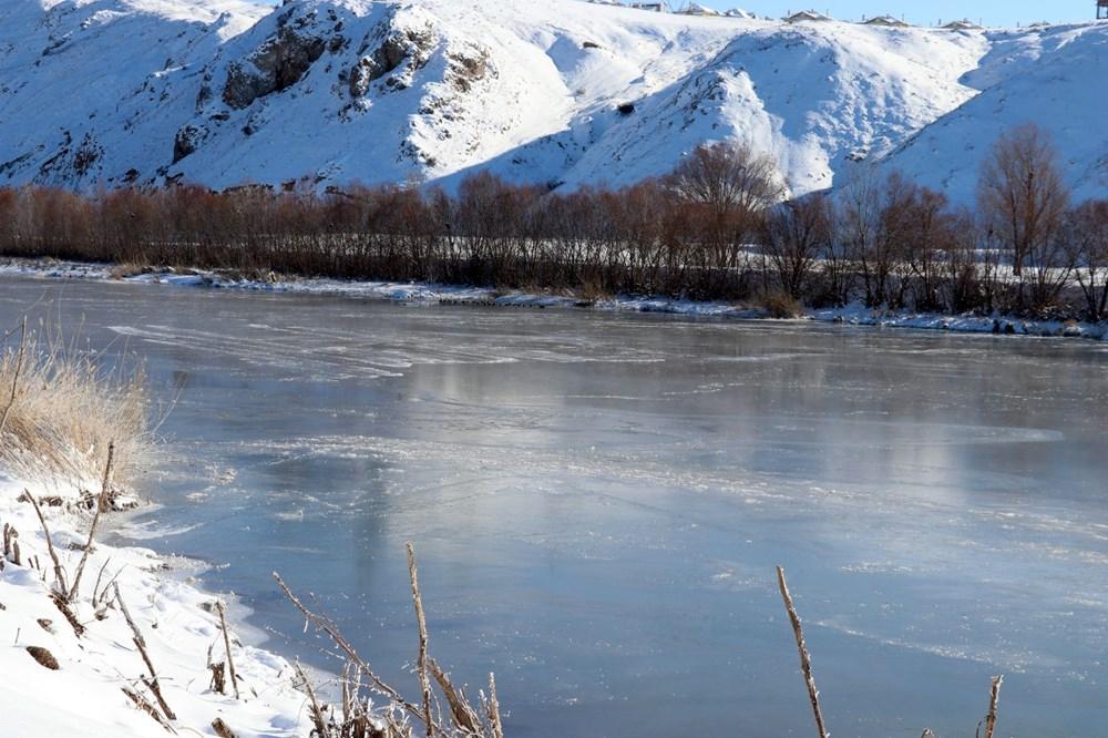 Türkiye'nin en soğuk yeri Sivas Altınyayla oldu, Kızılırmak kısmen buz tuttu - 14