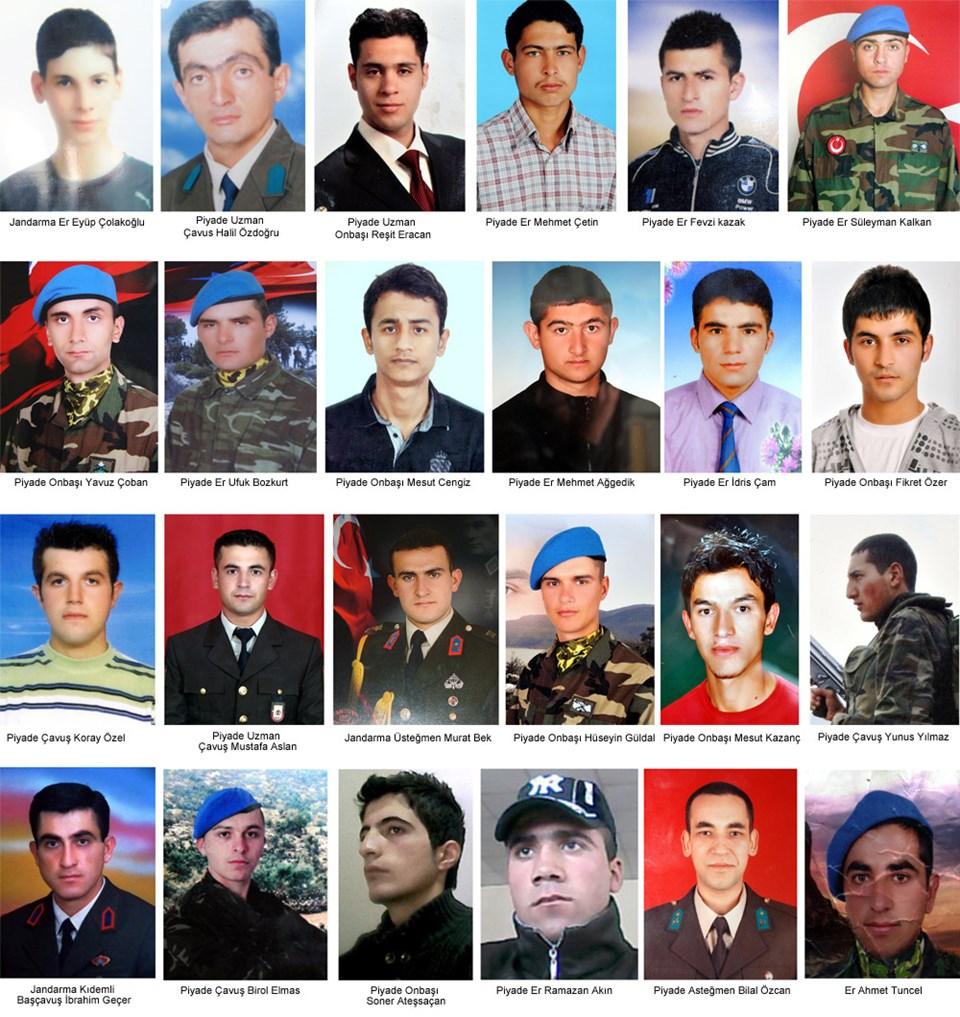 Saldırıda şehit olan 24 asker.
