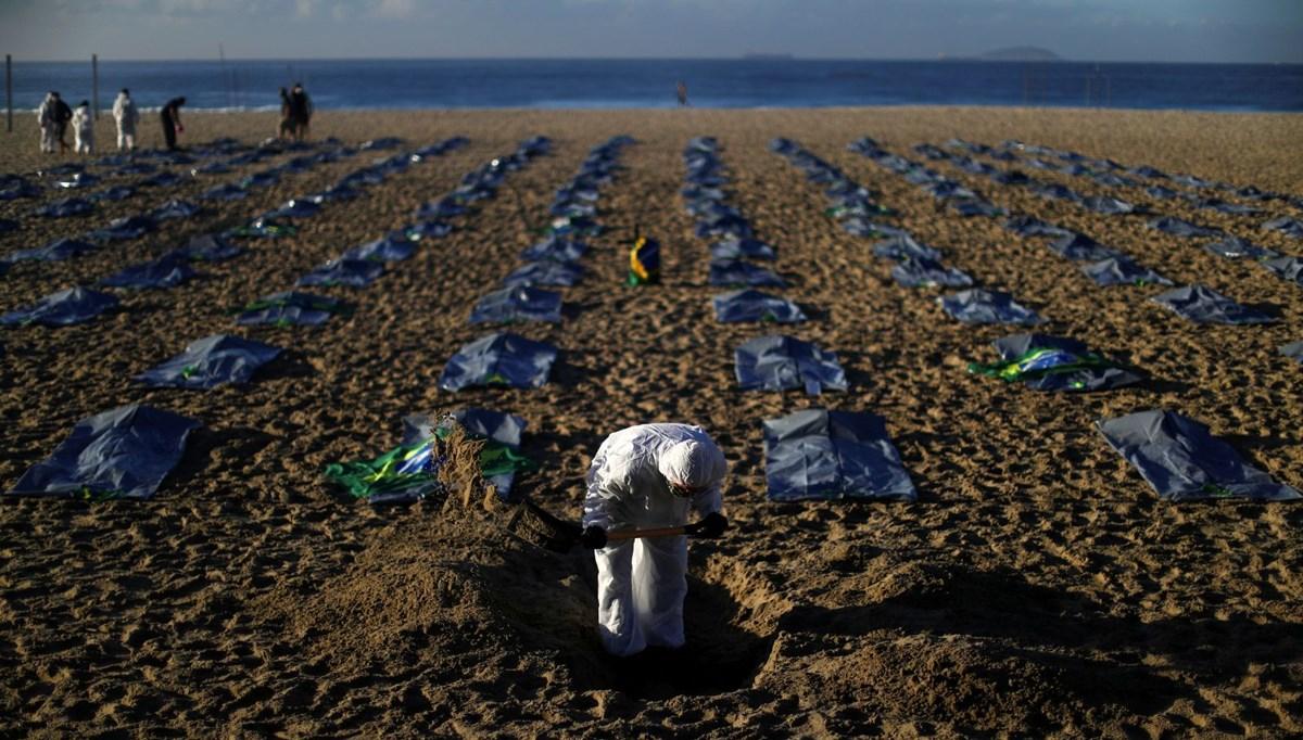 Body bags on the beach of Copacabana, Brazil