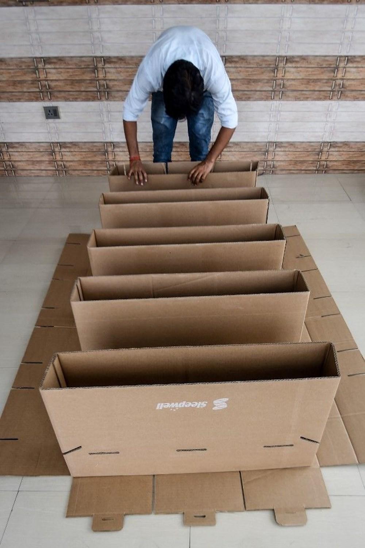 Hindistan'da Covid-19'a karşı karton yatak çözümü - 4