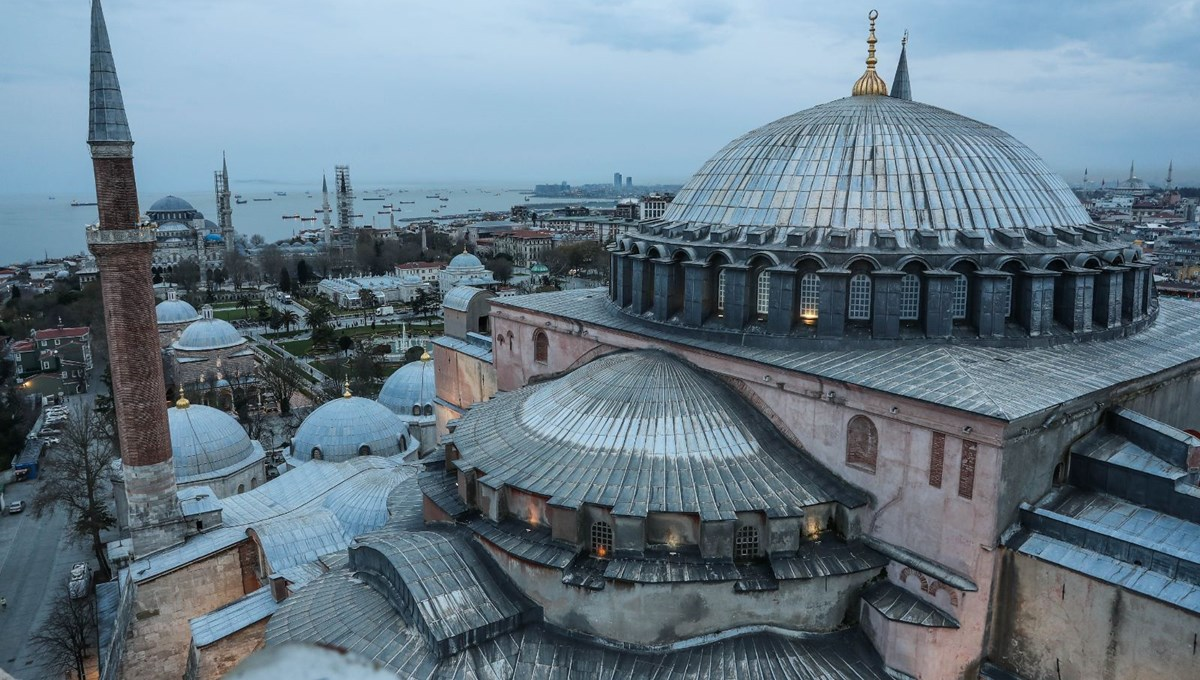Views of the historical peninsula from the minaret of Hagia Sophia Mosque