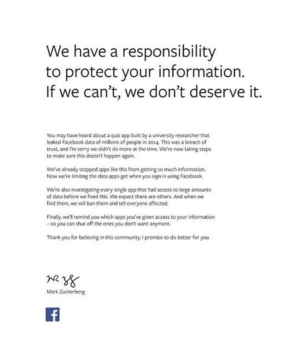Mark Zuckerberg, gazete ilanıyla özür diledi.