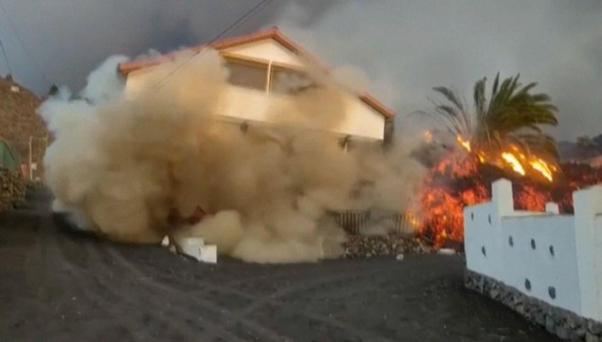 La Palma'da lavlara direnemeyen ev yerle bir oldu