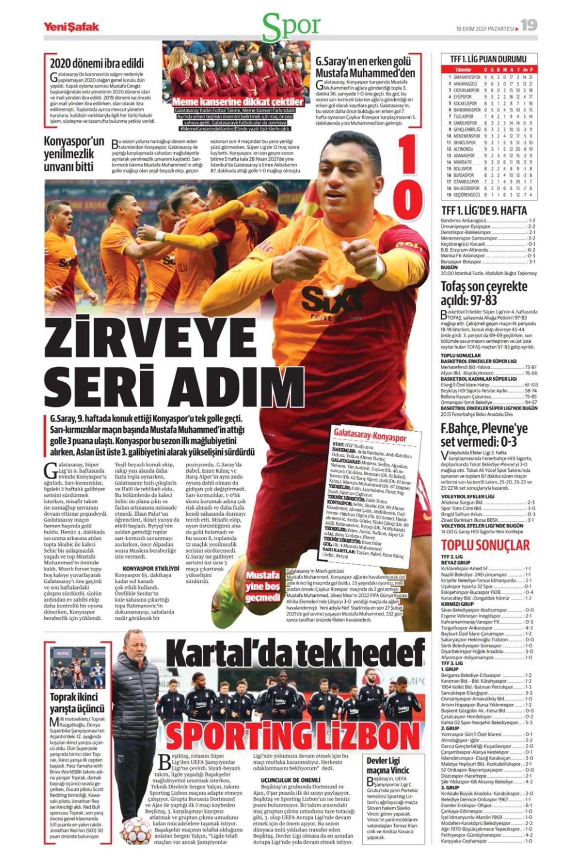 Günün spor manşetleri (18 Ekim 2021)