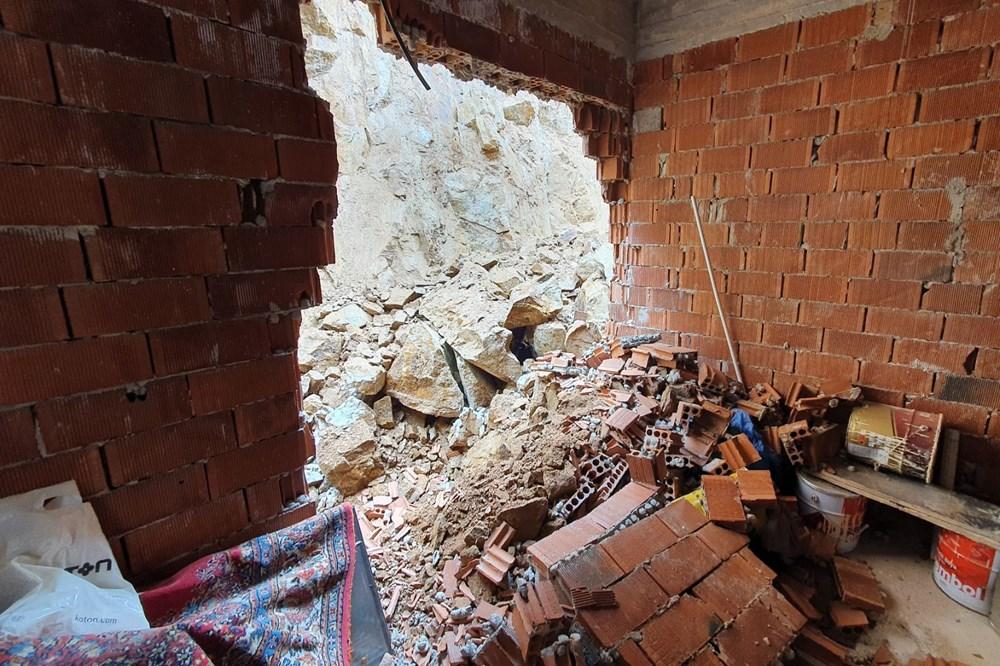 Dağdan kopan kayalar evin içine doldu - 3