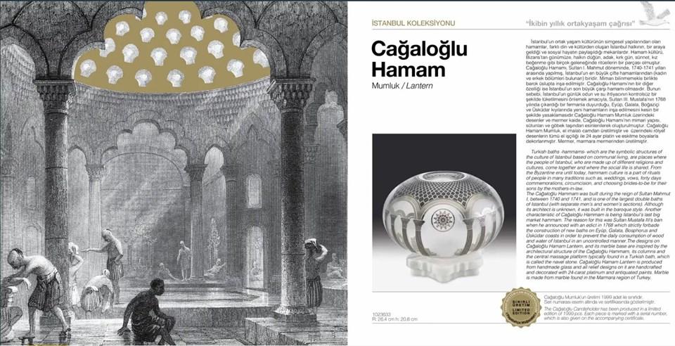 Cağaloğlu Hamamı Mumluk isim ürün, Paşabahçe'nin hazırladığı katalogta böyle yer aldı.