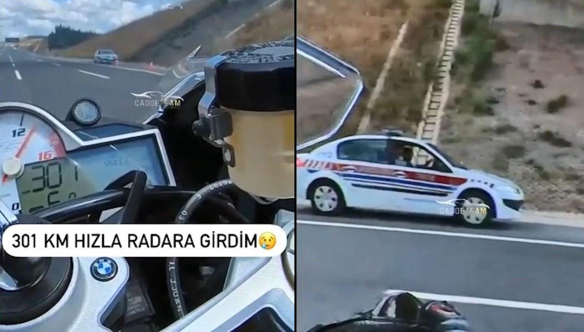 301 km hızla radara yakalandı: O anları sosyal medyadan paylaştı