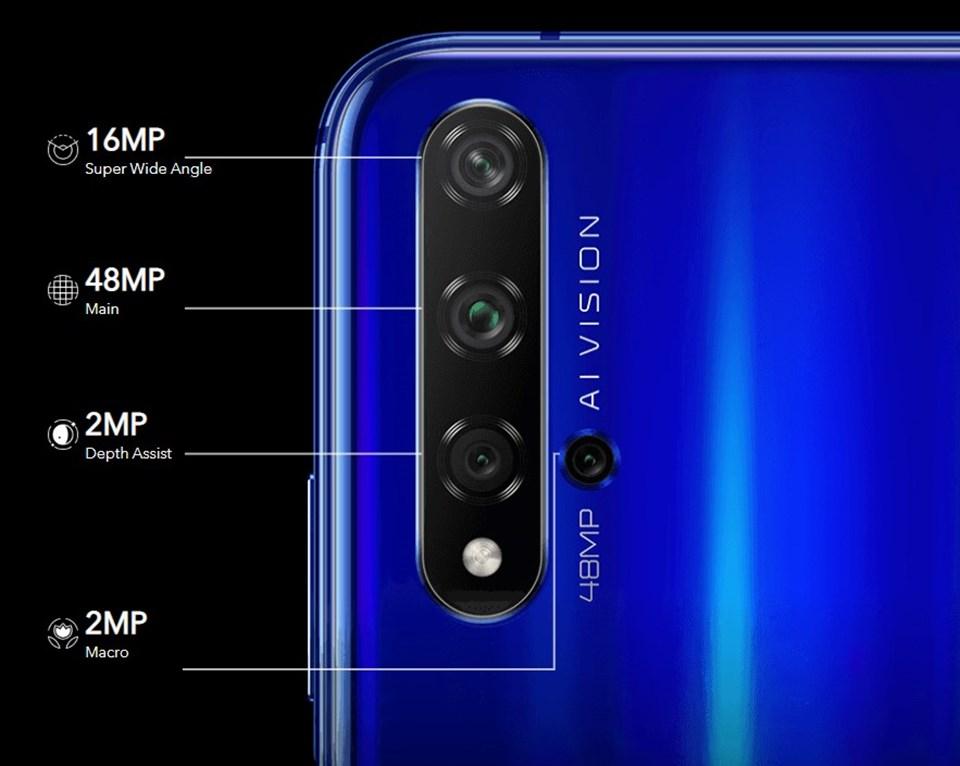 Cihazın arka tarafında konumlandırılan kameraların değerleri şöyle; 48 MP ana kamera (f/1.8), 16 MP Süper Geniş Açı (f/2.2), 2 MP Derinlik (f/2.4), 2 MP Makro (f/2.4)