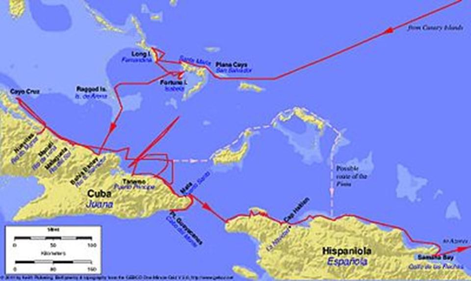 Kristof Kolomb'un Yeni Dünya'ya ilk seferi.