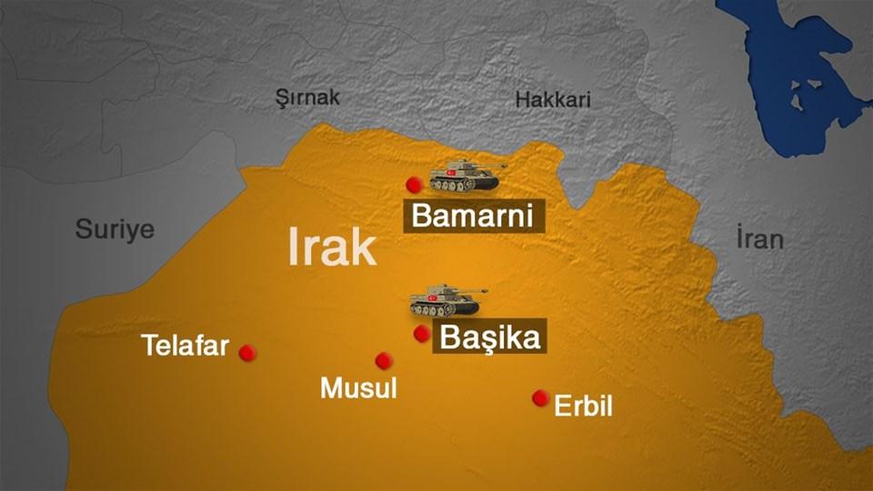 Irak'ta Türk askerlerinin görev yaptığı kamplar.
