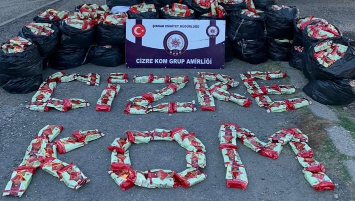 Şırnak'ta 1,5 ton kaçak çay ele geçirildi