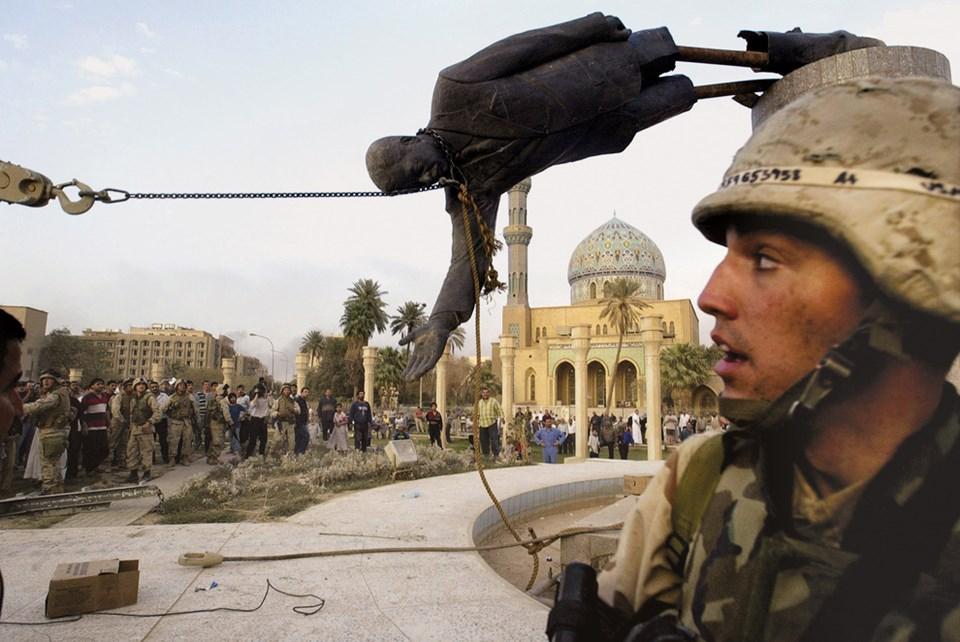 9 Nisan 2003: Bağdat'taki Saddam Hüseyin heykeli yıkıldı.
