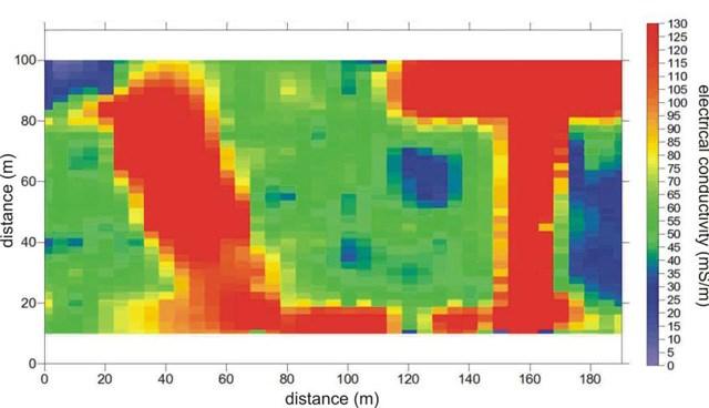 Jeofizik ölçümlere göre, kırmızı bölgeler uçakların gömüldüğü alanı gösteriyor.