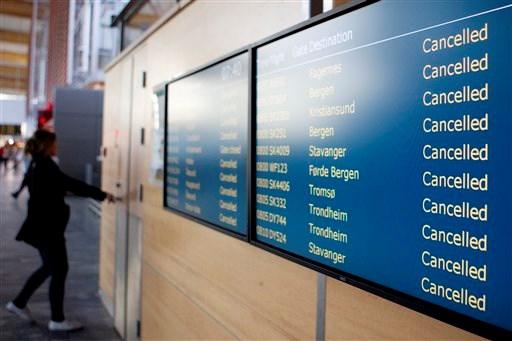 Oslo Havaalanı'nda iptal edilen uçuşların listesi.