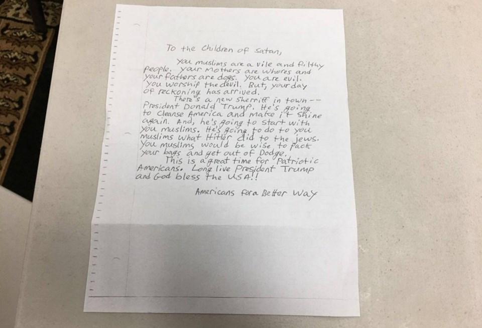 ABD'nin 7 eyaletinde camilere bu tür mektuplar gönderilerek, Müslümanlar tehdit ediliyor. Müslümanların biran önce ABD'yi terk etmeleri tavsiye ediliyor.