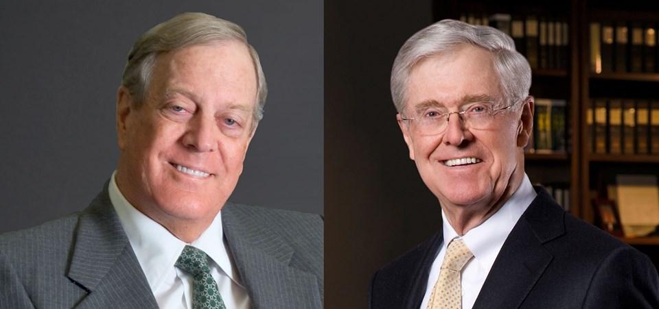 ABD'de muhafazakar kimlikleriyle tanınan Charles ve David Koch kardeşler 115 milyar dolar değerinde bir şirkete sahipler.
