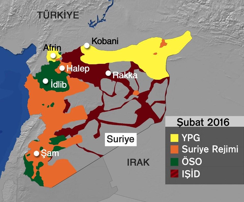 Suriye'de iki hafta sürecek ateşkes öncesi bu harita ülkedeki son durumu gösteriyor.