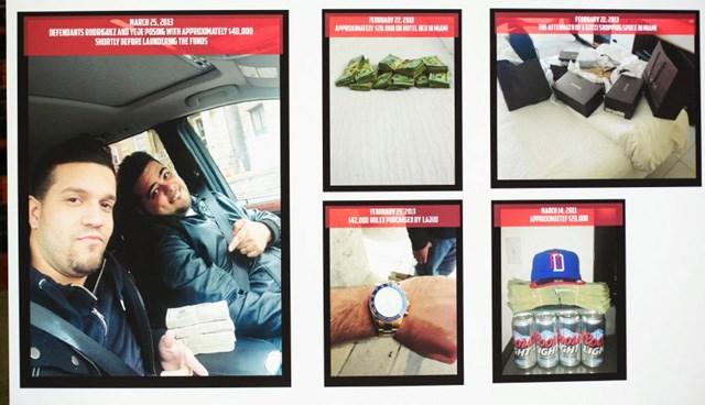 Çete üyeleri, bankamatiklerden çaldıkları paralarla fotoğraf çekti.