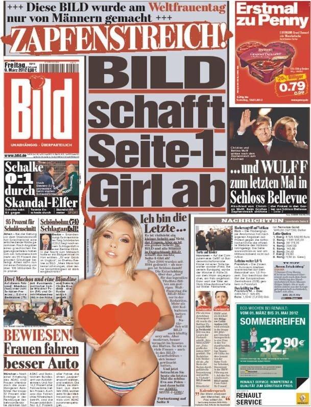 """Alman bulvar gazetesi Bild 2012 yılında """"üstsüz kadın"""" fotoğraflarını birinci sayfa yerine iç sayfalarda yayımlama kararı almıştı."""