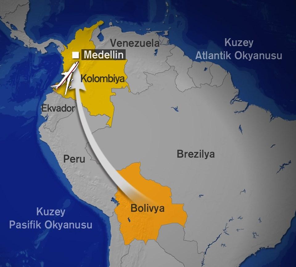 Brezilyalı futbolcuları da taşıyan uçak Kolombiya'nın Medellin kentinin hemen dışında bulunan dağlık alana düştü.
