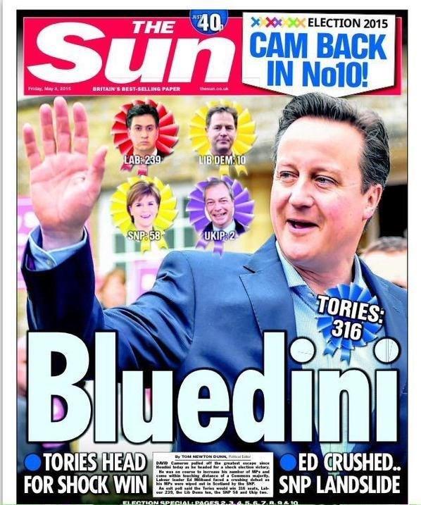 Seçimde Muhafazakarları destekleyen Murduch'un gazetesi The Sun bugün David Cameron posteriyle çıktı.