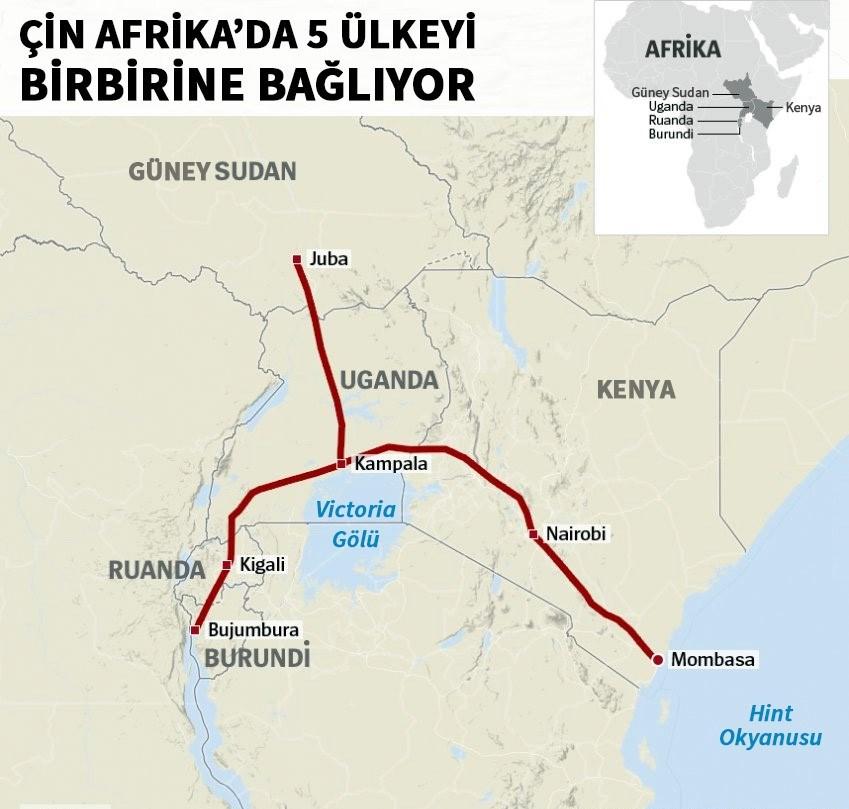 Çin Afrika'da 5 ülkeyi birbirine bağlayacak demiryolu hattını 13.8 milyar dolara inşa edecek.