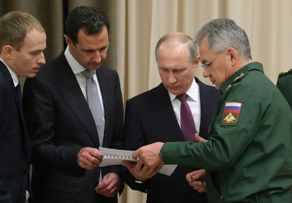 Putin-Esad görüşmesinde Rusya Genelkurmay Başkanı Sergey Şoygu da hazır bulundu.