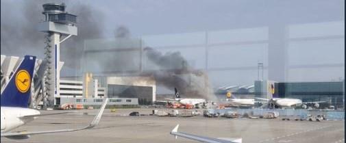 frankfurt yangın uçak