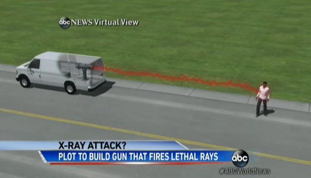 Ölümcül radyasyon yayan silahın aynı zamanda uzaktan kumandayla da devreye sokulduğu belirtildi.