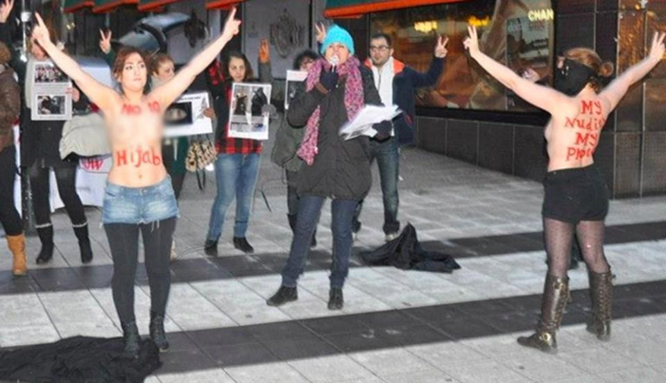 İranlı kadın aktivistlerin eylemine, FEMEN de destek verdi.