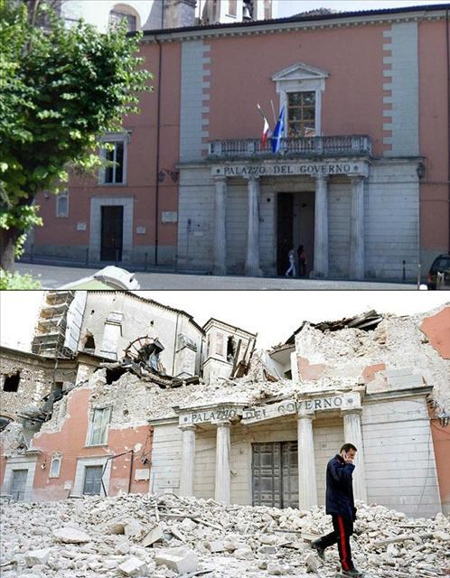 İtalya depremi öncesi ve sonrası