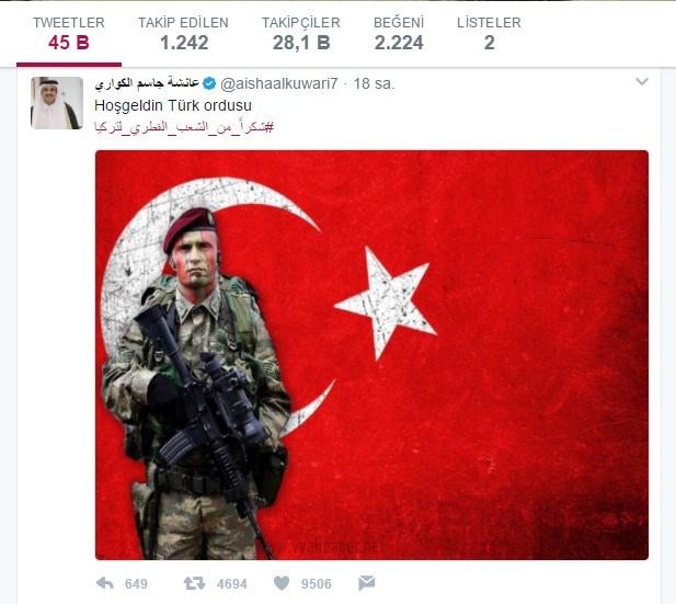 """Katar Emiri Temim bin Hamad es-Sani kişisel Twitter hesabından """"hoş geldin Türk ordusu"""" mesajını paylaştı."""